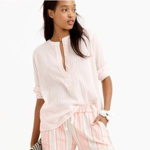 J Crew | Collarless Popover Shirt In Bengal Stripe